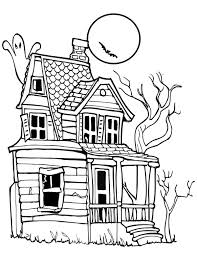 printable spooky house spooky halloween day house coloring page netart