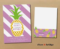 Avery Invitation Cards River U0026 Bridge Pineapples Birthday Invitation Thank You Card