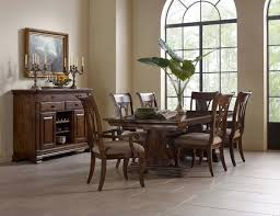seven piece trestle table and harp back chair set by kincaid