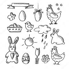 set of spring easter doodle sketches icons isolated vector