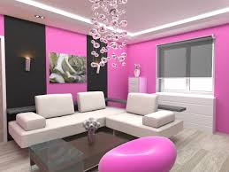 pretty living room paint idea with pink and black painted wall