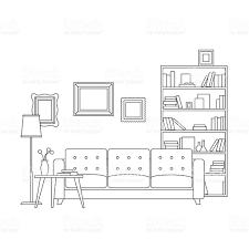 Floor Plan Line Of Credit Line Interior Of Living Room Stock Vector Art 535413368 Istock