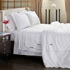 Embroidered Duvet Cover Sets Scallop Embroidery 300 Thread Count Cotton Percale 3 Piece Duvet