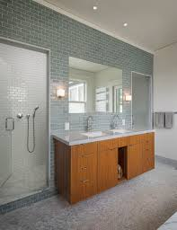 bathroom ideas blue subway tile bathroom with two small windows