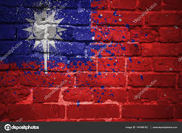 Flag Taiwan Painted National Flag Of Taiwan On A Brick Wall U2014 Stock Photo