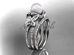 butterfly wedding rings images Platinum diamond pearl butterfly engagement ring set ap141 jpg