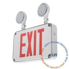 exit emergency light combo exterior combo exit emergency light red led wet location rated