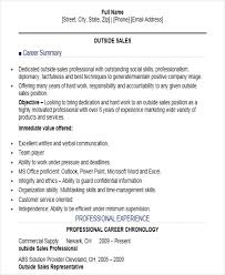 Sample Outside Sales Resume by Outside Sales Resume Ecordura Com