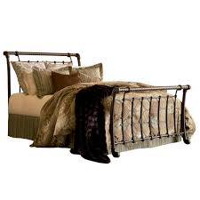 iron sleigh bed ancient gold finish traditional design