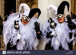 Couples Jester Halloween Costumes Couple Jester Costumes Venice Carnival Venice Italy Stock