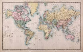 Maps Of The World by Original Old Hand Coloured Map Of The World On Mercators