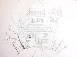 Easy Halloween Drawings For Kids by Manelle Oliphant Illustration How To Draw A Haunted House Very