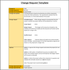 Change Order Template Excel Sle Change Request Template Project Management Templates