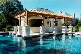 frontenac pool house design renovation poynter landscape a small cedar pergola located in the side yard extends out from the master bedroom for a small outdoor private space