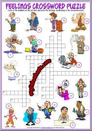 feelings emotions esl printable crossword puzzle worksheets for