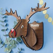 personalised wooden stag wall decoration by create gift
