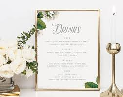 wedding bar menu template wedding bar menu etsy