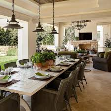 Dining Room With Fireplace by Beautiful Outdoor Covered Porch With Large Table For Entertaining