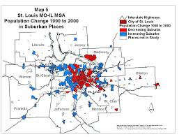 Map Of St Louis Population Change In Suburbs 1990 To 2000