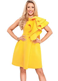 yellow layered ruffle sleeve mini dress mini dress dresses