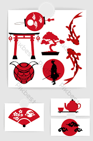 Traditional Japanese element vector material Free Download  Pikbest