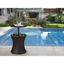 home design products keter cool bar brown wicker outdoor ice cooler table u2013 blissfulyard