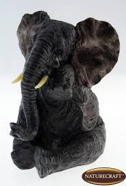 naturecraft realistic grey elephant with tear ornament