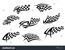 checkered flags tribal style tattoo sports stock vector 111266843
