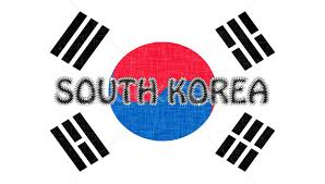 flag of south korea stitched with letters stock photo micha