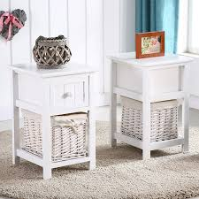 Bedside Table Amazon Amazon Com Eight24hours Pair Of Retro White Chic Nightstand End