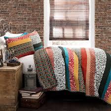 amazon com lush decor boho stripe 3 piece quilt set king