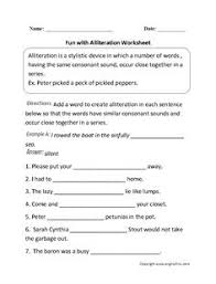 sounds in alliteration worksheet englishlinx com board