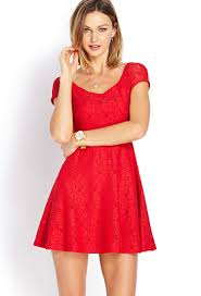 forever 21 sweet lace off the shoulder dress in red lyst
