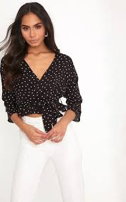 polkadot top gretta black woven polka dot wrap tie blouse tops