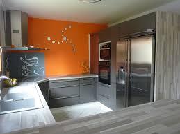 cuisine orange et gris decoration cuisine moderne