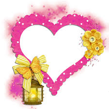 transparent frame pink heart with yellow butterfly flowers and