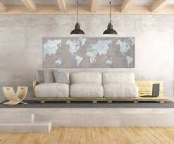 Vintage World Map Canvas by World Map Canvas Print Brown Vintage Taupe Light Blue Gray