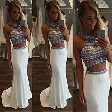 charming two pieces prom dress high neck prom dress two greek