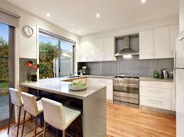 modern kitchen with sleek cabinets and freestanding oven a