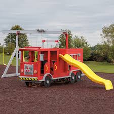 wooden beam swing set slide and firetruck playground equipment or