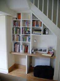 understairs bookshelves white kids desk silver desk lamp black