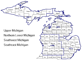 area code map of michigan weather information