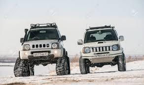 khabarovsk russian february 19 2016 car suzuki jimny rides