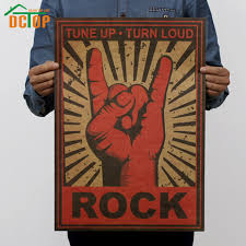 online get cheap wall decorations stickers aliexpress com dctop rock tune up turn loud gesture kraft poster wall decorative stickers home decor durable wall