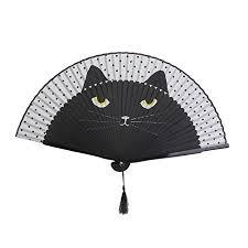 handheld fan oulii women folding fan handheld fan cat folding silk fan