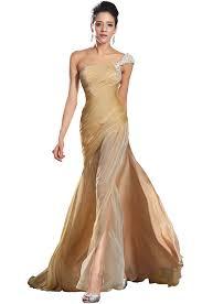edressit new one shoulder gold evening dress prom ball gown