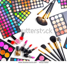 makeup artist tools beauty cosmetics makeup cosmetic tools colorful stock vector