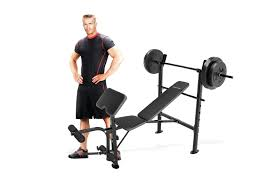 Weights And Bench Set Marcy Competitor Combo Workout Bench With 80 Pound Weight Set Gym
