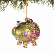 green sparkly pig papyrus signature ornament