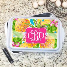 monogrammed serving dishes monogrammed cake pan serving dish the pink paisley monogram